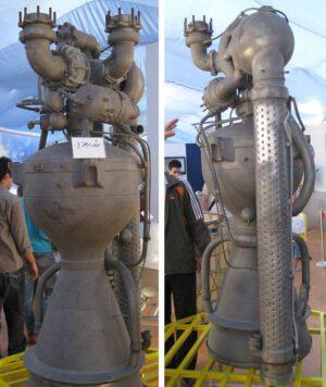 Motor Nodong z rakety Unha-3 - velmi podobný design používá i íránský motor Šahab.