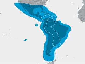 Celkové pokrytí Jižní a Střední Ameriky družicí SES-10