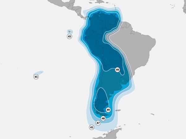 Větev družice SES-10 pokrývající hispánskou část Jižní Ameriky.