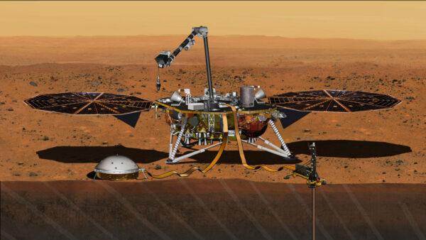 InSight s pomocí robotické paže rozloží vědecké přístroje na povrch Marsu.