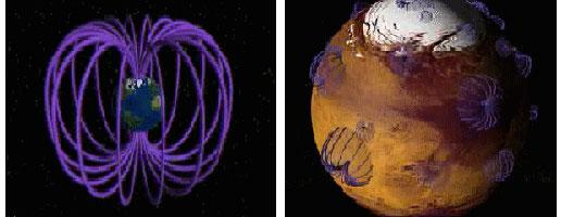Rozdíl mezi magnetickým polem Země a Marsu je vidět na první pohled