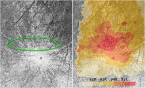 Místo, kde mělo k výtrysku dojít a teplotní mapa - vše pořízeno sondou Galileo.