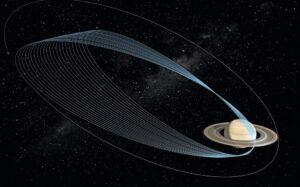 Oběžná dráha sondy Cassini kolem Saturnu během závěrečné fáze prochází mezi planetou a vnitřním okrajem prstenců.