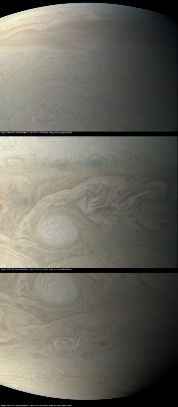 Jupiter z JUNO během perijovu 4 v přibližně pravých barvách a kontrastu. NASA / JPL-Caltech / SwRI / MSSS / Björn Jónsson