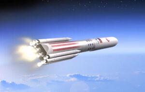 Vizualizace rakety Vulcan s motory BE-4 na prvním stupni.