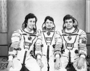 Třetí dlouhodobá expedice na Saljut 7 (zleva: Aťkov, Kizim, Solovjov)