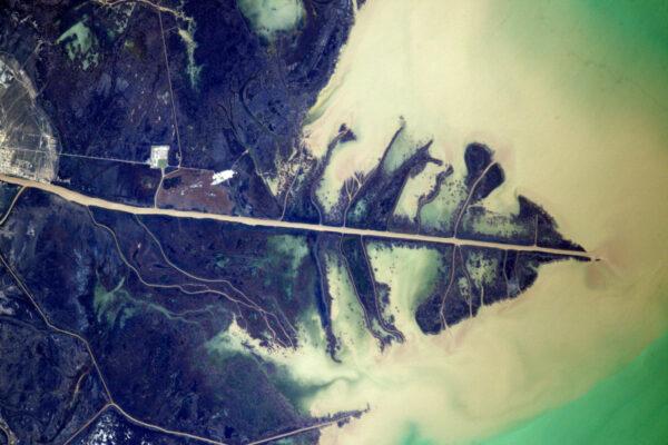 Delta Uralu v Kaspickém moři vypadá jako list stromu.