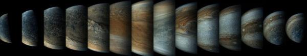 Sekvence přibližování sondy Juno k Jupiteru - zpracování David Worley.