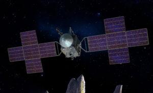 Vizualizace sondy Psyche zveřejněná v květnu 2017 - sonda dostala pětidílné solární panely.