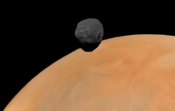 Phobos nad Marsem ze sondy Fobos 2. Zdroj: http://www.planetary.org