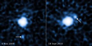 Porovnání dvou snímků z Hubblova teleskopu.