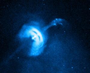 Vela pulsar - kombinovaný snímek ve viditelném a rentgenovém spektru.
