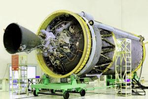 Kryogenní stupeň C-25 použitý na raketě GSLV Mk III.