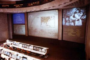 Pohled do sálu řídicího střediska CUP pár desítek sekund po startu Sojuzu T-15