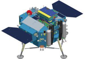 Počítačový model sondy Čchang'e 4 s roverem.