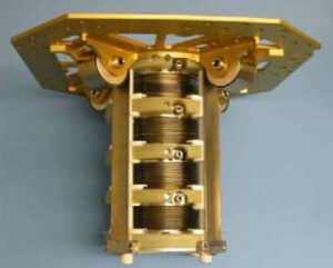 Obr. 8 - Systém čtyř měchů tlakovaných pomocí čtyř lineárních pružin. Pružinová deska tvoří strukturální páteř systému.