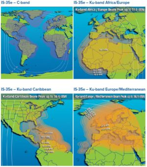 Oblasti pokrytí družice Intelsat 35e