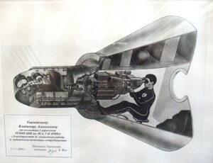 Řez návratovou kabinou Kosmosu-1686 s teleskopem Pion-K