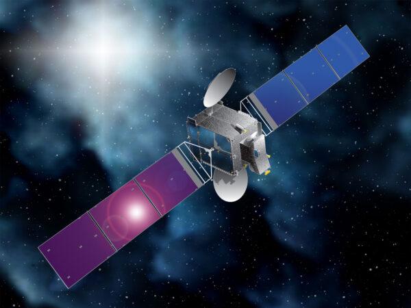 Vizualizace družice BulgariaSat-1 na oběžné dráze.