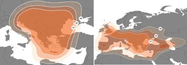 Pokrytí balkánské a evropské zóny v podání družice Bulgariasat-1