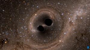 Vizualizace kolize černých děr.