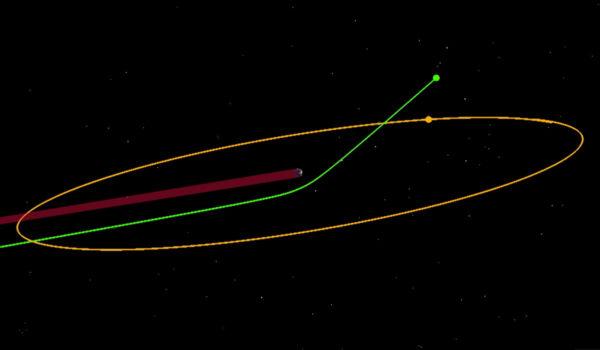 Změna dráhy při gravitačním manévru.