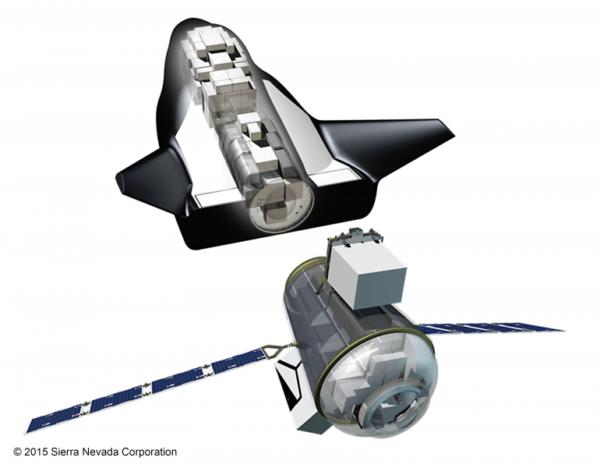 Vnitřní uspořádání zásobovacího miniraketoplánu Dream Chaser. Ve spodní části je dobře vidět oddělitelná nehermetizovaná sekce.