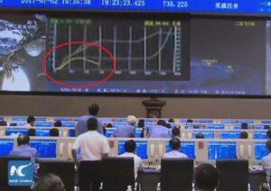 Snímek z přímého přenosu zachycuje moment, kdy se trajektorie začala odchylovat od plánovaného průběhu.