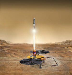 Teoretická podoba startu z povrchu Marsu.