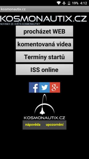 Vzhled aktuální verze aplikace Kosmonautix LITE