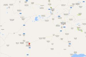 Poloha kazašské vesnice Talap, u které došlo k požáru.