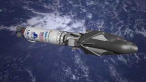 Vizualizace nepilotovaného Dream Chaseru, který je zatím ještě spojen s horním stupněm rakety.