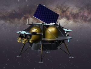 Vizualizace landeru Peregrine s připojeným vozítkem.