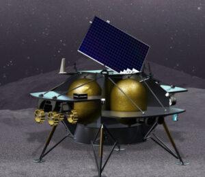 Vizualizace landeru Peregrine od firmy Astrobotics po přistání.