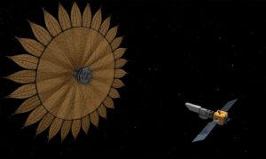 Vizualizace vztahu starshade a teleskopu - obě tělesa by byla pochopitelně mnohem dále.
