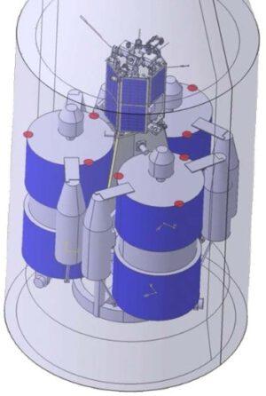 Vnitřní uspořádání aerodynamického krytu se třemi družicemi Rodnik a jedním tajným spolucestujícím.