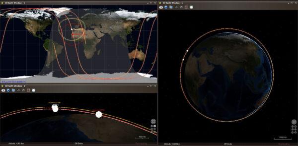 Simulace stavu, který nastane 30. srpna - Objekt D a Kosmos 2486 se k sobě přiblíží.
