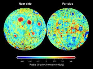 Mapa gravitačních anomálií na povrchu Měsíce.
