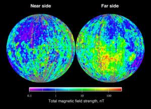 Model magnetického pole Měsíce vytvořený sondou Lunar Prospector.