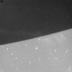 Statický, zvětšený snímek polární záře na Saturnu pořízený v červenci 2017.