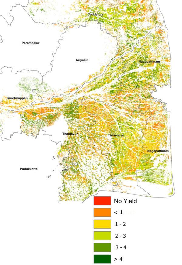 Výnosy rýžových polí ve státě Tamil Nadu (tun na hektar) v sezóně 2016/17. Průměrné výnosy v této oblasti přitom bývají mezi 3,5 a 5 tunami na hektar.
