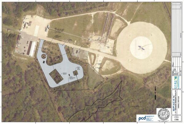 Mapa nového areálu u plošiny LZ-1 - v jejím okolí již vznikají další dvě přistávací plochy.
