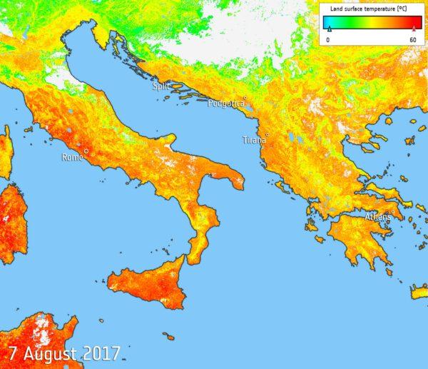 Teplota povrchu v Jižní Evropě