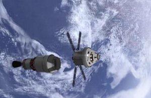 Orion při oddělení od horního stupně ICPS.