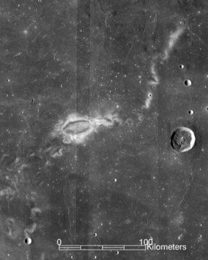 Jeden z vířících útvarů (Reiner-Gamma) na Měsíci.
