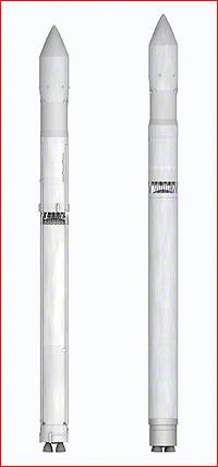 Porovnání raket Zenit (vlevo) a Sunkar ve stejném měřítku.