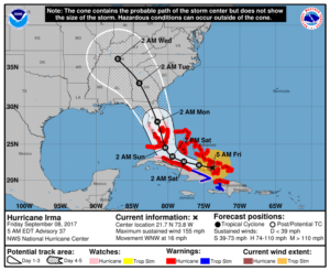 Model očekávaného pohybu hurikánu Irma.