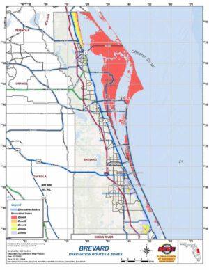 Evakuační mapa okolí floridského kosmodromu.