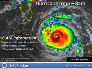 Hurikán Irma 8. září ve 14:00 SELČ.