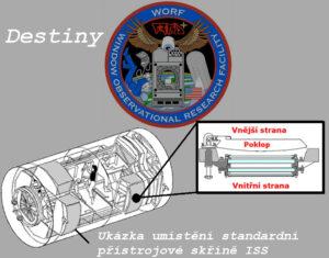 """""""Vlajkovou lodí"""" amerických modulů na ISS je laboratoř Destiny. Laboratoř obsahuje sofistikované okno, jehož součástí je i pozorovací skříň WORF, která má dokonce své logo inspirované seriálem Star Trek. Podivné písmo nad okem v logu je klingonština. Poloha okna ve výřezu neodpovídá realitě."""